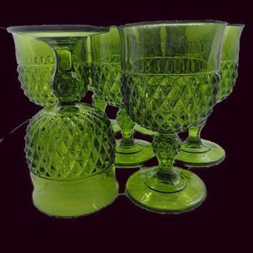 Green Goblets With Diamond Pattern  S/7