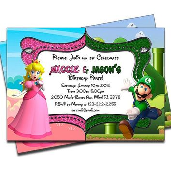 PRINTED Mario Bros Princess Peach and Luigi Street Double Joint Twins Siblings Personalized Birthday Invitation - Set of 20 Invites