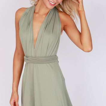 Versatile Halter Wrap Dress Olive