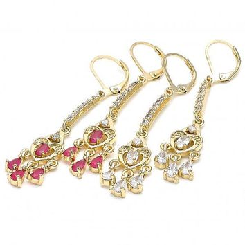 Gold Layered Long Earring, Heart and Teardrop Design, with Cubic Zirconia, Golden Tone