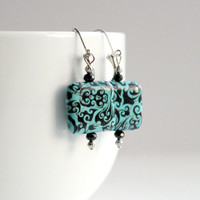 Turquoise and Black Beaded Paisley Square Dangle Leverback Earrings - Bold Handmade Jewelry - Ready to Ship