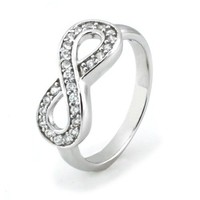 Sterling Silver Infinity Ring w/ Cubic Zirconia - Available Size: 4, 4.5, 5, 5.5, 6, 6.5, 7, 7.5, 8, 8.5, 9, 9.5, 10