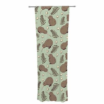 "Stephanie Vaeth ""Kiwi Bird"" Brown Green Illustration Decorative Sheer Curtain"