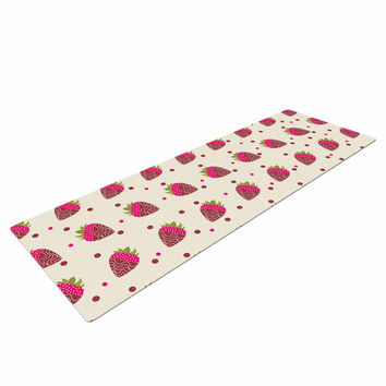 "afe images ""Chocolate Strawberries Pattern"" Red Pink Digital Yoga Mat"
