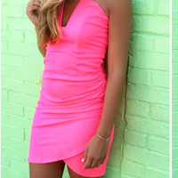 San Juan Island Neon Pink Strapless Fitted Cocktail Dress