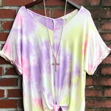 Vacation Tie Dye V-Neck Top by Umgee - Lime/Pink