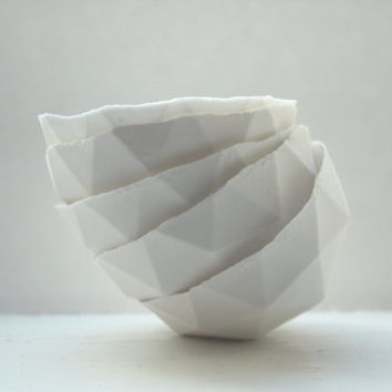 Geometric faceted polyhedron pure white bowl made from stoneware fine bone china - geometric decor