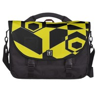 Retro Black and Yellow Abstract Commuter Bags