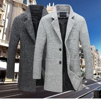 Men's Fall Winter Fashion Three Quarter Boucle Wool Coat Jacket