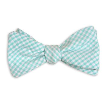 Seafoam Green/Blue Seersucker Gingham Bow Tie by High Cotton