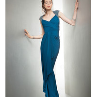 Mignon VM650 Beaded Cap Sleeves Teal Gown Prom 2015