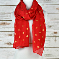 Polka Dot Scarf - Red with Gold