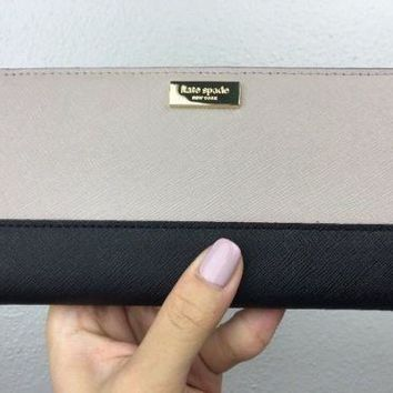 NWT Kate Spade Stacy Newbury Lane  Leather Bifold Wallet Black Mousfro $118.00
