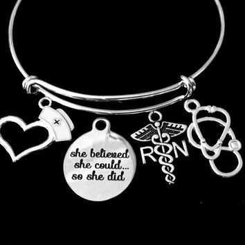 RN Nurse She Believed She Could So She Did Jewelry Adjustable Bracelet Expandable Silver Charm Bangle Stethoscope One Size Fits All Gift