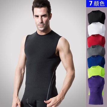 Clothing Compression Shirt Men O Neck Tank Tops Summer Male Bodybuilding Sleeveless Vest gyms clothing fitness T shirt