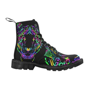 Sacred Mandala Tiger Lace Up Canvas Custom Women's Boot, Black Combat Ankle Booties