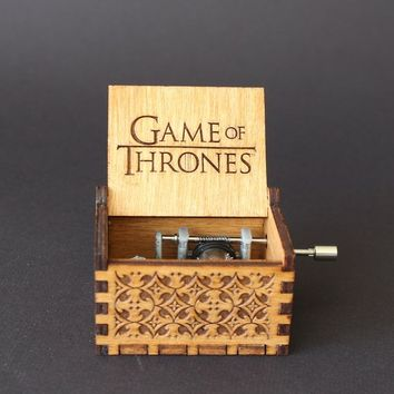 Customized GOT Hand Engraved Wooden Music Box [FREE Bracelet Included]