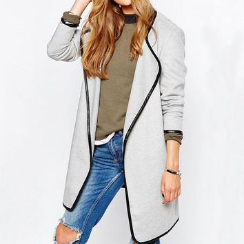 Autumn Winter Womens  Lapel Overcoat Windbreaker Gift-241