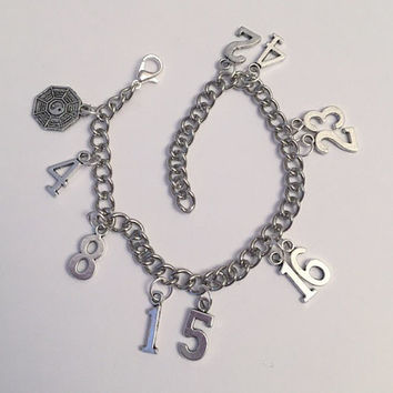 Lost Tv Show Numbers Charm Bracelet - Dharma Initiative Jewelry - Lost Tv Show Jewelry