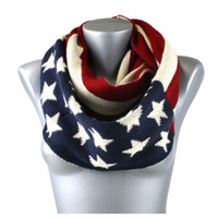 """American Pride"" Red White and Blue Knitted Flag Infinity Scarf"