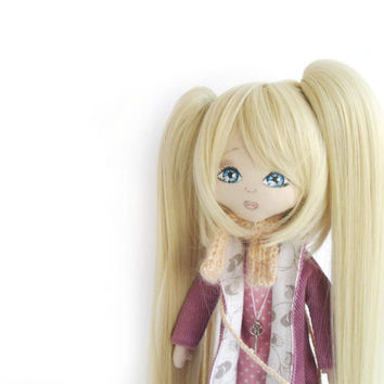 Cloth doll, art doll, interior doll, modern doll, handmade doll, ooak doll, collectible art doll, blonde doll