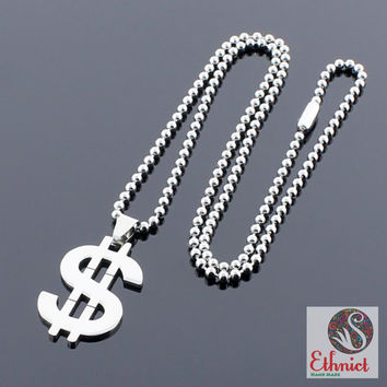 Dollar sign necklace, dollar necklace, money necklace, gangster necklace, mafia necklace, stainless steel, gift for him, steel necklace