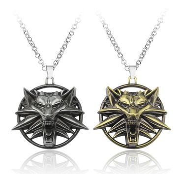 The Witcher 3 Wolf Head Necklace Pendant Wild Hunt Figure Game Wizard Witcher 3 Medallion Pendant Necklace