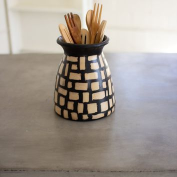 Black And White Clay Lenca Vessel With Square Pattern
