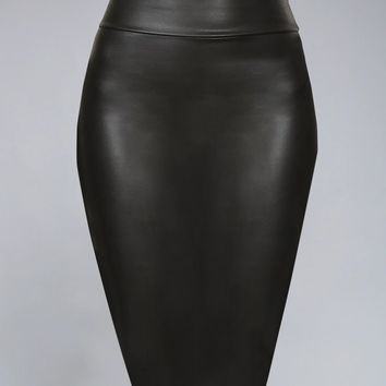 Faux Leather Pencil Skirt Below Knee Length Skirt Midi Bodycon Skirt Womens, USA