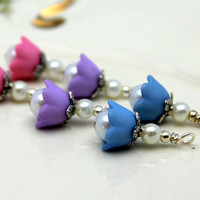 3 Pair of Baby Bell Lucite Flower Bead Dangle Charm Drop Sets In Pink Blue and Purple with Pearls