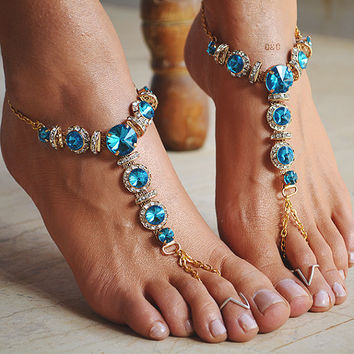 "Women Barefoot Sandals ""Blue Crystals Maze"""