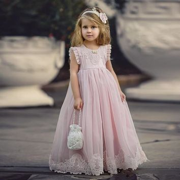 Lace Appliques Flower Girls Dresses O Neck Custom First Communion Dresses Floor Length A Line 2017 Hot Cheap Girls Pageant Gowns
