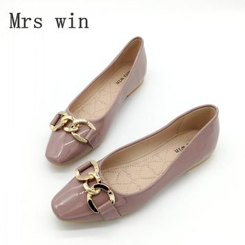Brand Women Shoes Flats Slip-On Woman Foldable Ballet Flats Square Toe Casual Ladies Chain Single Shoes Zapatos Mujer Plus Size
