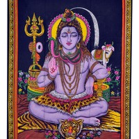 Bohemian Hindu Shiva with a Trident Tapestry Wall Hanging Tablecloth Bed Spread, Free Magnet