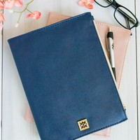 Navy Vegan Leather Agenda Cover