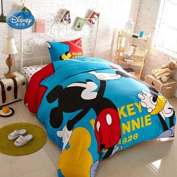 Disney Blue Mickey Mouse Bedding Sets Children Bedroom Decor 100% Cotton conjunto de cama Duvet Cover Set 3/4pcs