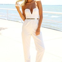 White Strapless Pantsuit with Plunge Neckline & Gold Belt