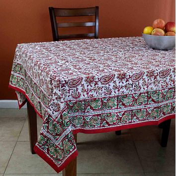 Hand Block Print Cotton Eternal Floral Vine Tablecloth Square 60x60 Red Gold Green