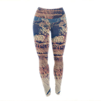 "Sylvia Coomes ""Grand Canyon Landscape 1"" Brown Tan Yoga Leggings"