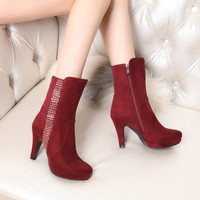 Fur Snow Boots Winter PU High Heels Women Shoes