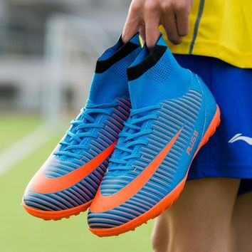 Sufei Soccer Shoes TF High Ankle Professional Football Boots Suferfly FG Cheap Futsal Sock Cleats Training Sport Sneakers
