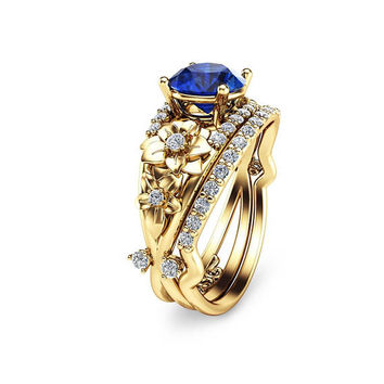 Special Reserved - 1.50ct Blue Sapphire Engagement Ring Set Floral 14K Yellow Gold - first payment