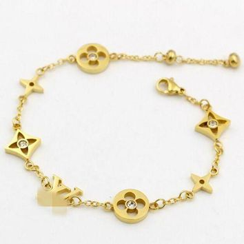 ICIKJ1A LV Louis Vuitton Small Accessories Splicing Bracelet Stylish Ladies Titanium Bracelet Jewelry Gold