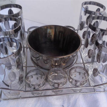Mid Century Barware Dorothy Thorpe Silver Allegro Set Ice Bucket, Shot Glasses, Tumblers