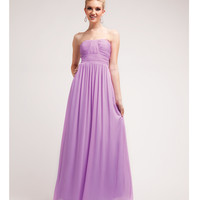 Lavender Pleated Chiffon Strapless Dress 2015 Prom Dresses
