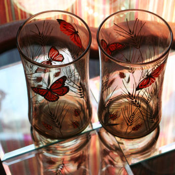 Vintage '70s Drink Glasses ~ Smokey Tawny Brown with Monarch Butterfly and Wheat Design by Libbey Glass