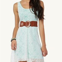 Belted Crochet High Low Dress