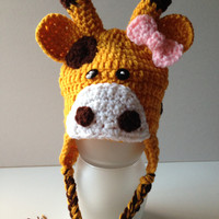 Giraffe Girl Hat - Giraffe Hat with Pink Bow - Earflap Hat - Adult Animal Hat - Handmade Crochet - Made to Order