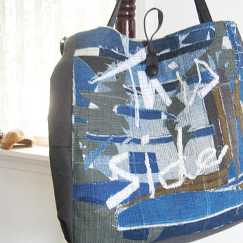 Large denim tote, Blue and gray, Novelty, upcycled patchwork bag, Grunge, market bag