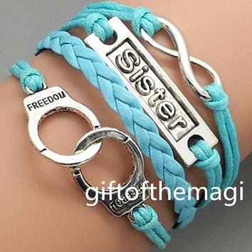 handcuffs,sister & infinity karma Charm Bracelet Antique silver- Wax Cords Leather bracelet--the best friendship gift 1229